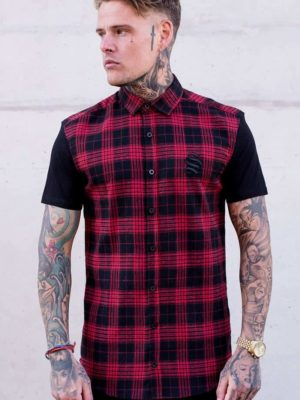SINNERS SHORT SLEEVE CHECK SHIRT – RED/BLACK