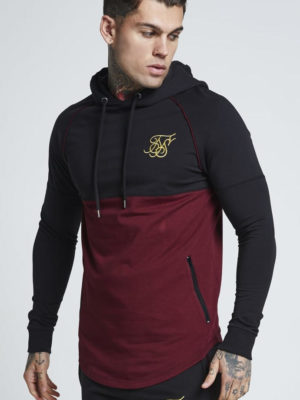 SIK SILK ZONAL OVERHEAD TRACK TOP – BLACK & BURGUNDY